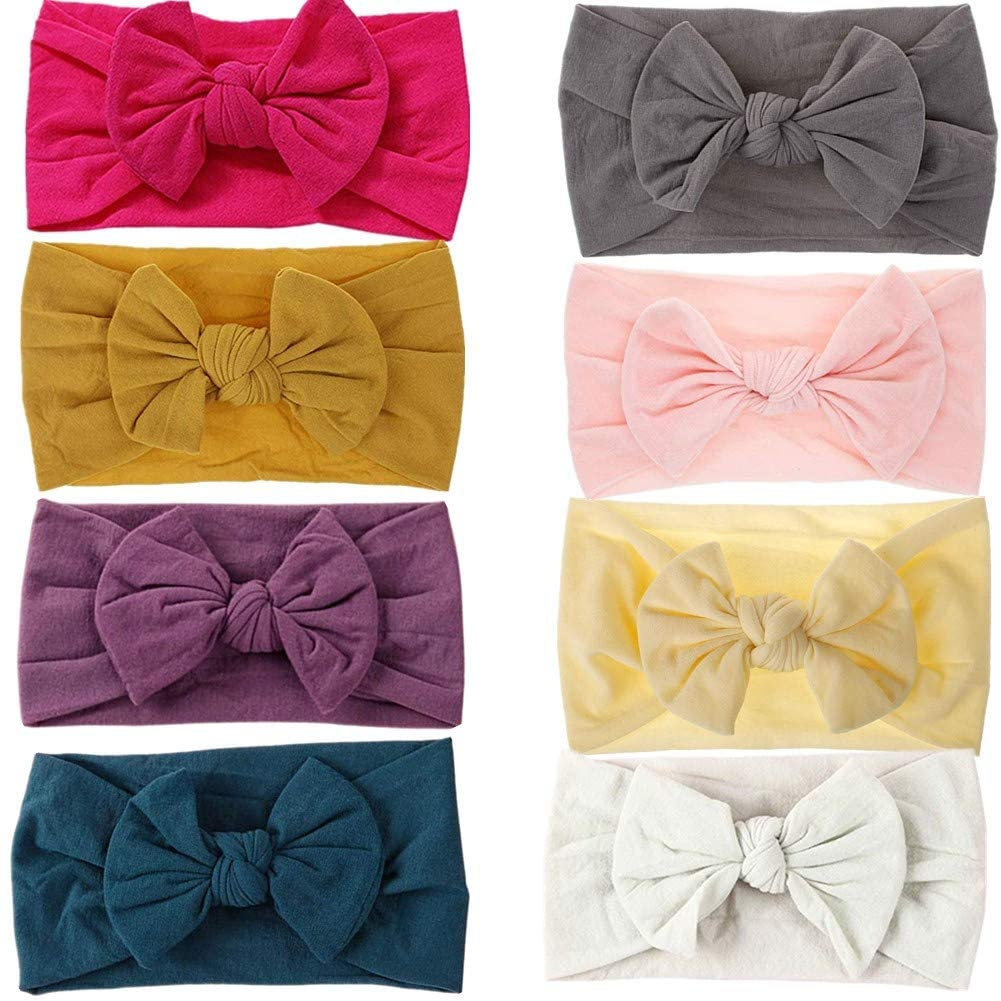 GUIFIER 8 Pack Baby Headbands Stretchy Nylon Headband with Bows for Infant Baby Toddler Girls