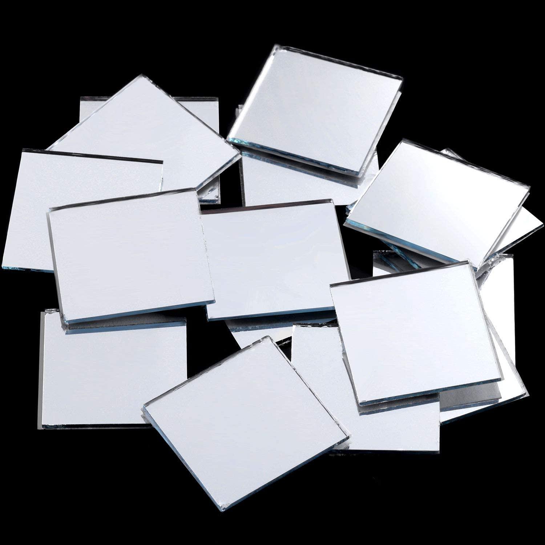 SATINIOR Self-Adhesive Mini Square Glass, Decorative Craft DIY Accessory Mirrors Mosaic Tiles (2.5 x 2.5 cm, 144 Pieces)