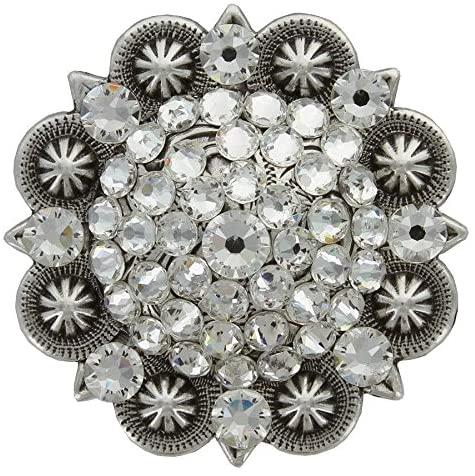 Swarovski Rhinestone Crystal 2 Antique Silver Berry Concho - Crystal