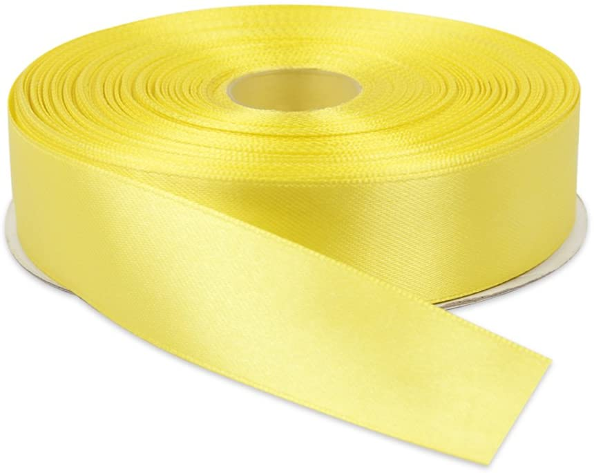 Topenca Supplies 50 Yards Double Face Satin Ribbon Roll, 1-Inch - Yellow