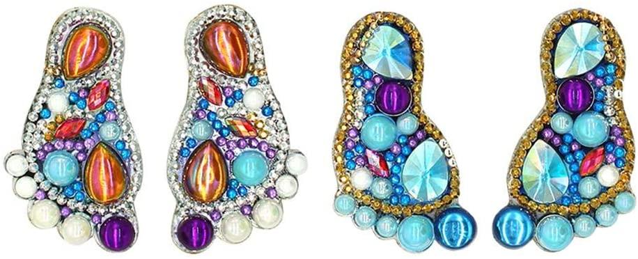 Diamond Painting Keychain Kits, 4pcs DIY Diamond Keychain Special Shaped Full Drill Feet Painting Keyring