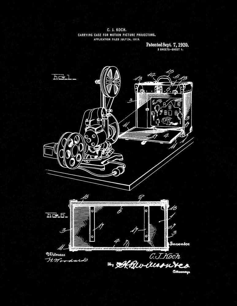 Case for Motion-Picture Projectors Patent Print Black Matte (13 x 19) M11287