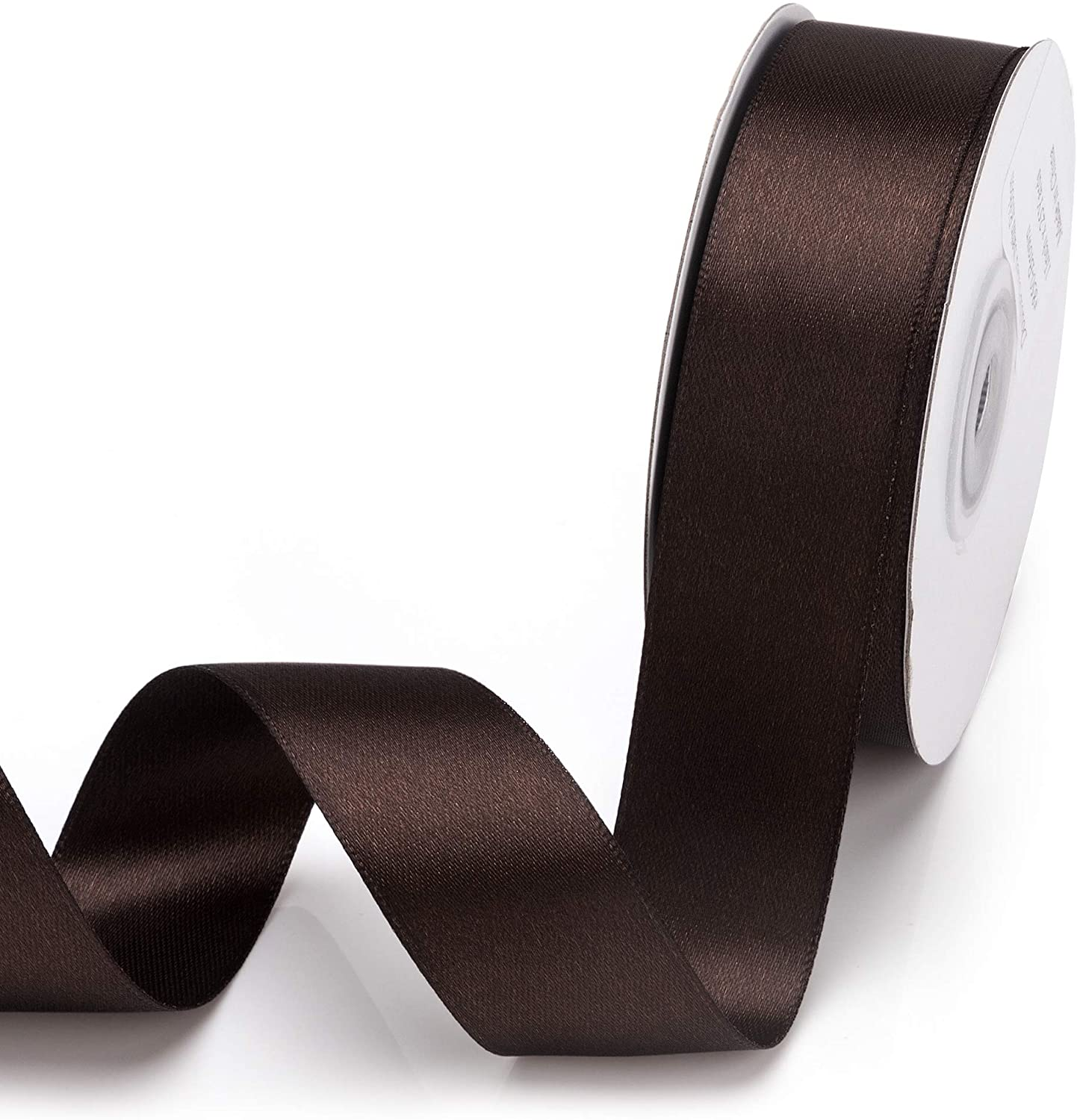 Filan Double Faced Satin Ribbon 1 Inch x 25 Yards Double Sided Solid Polyester Ribbon for Gift Wrapping Party Hair Braids Bow Baby Shower Decoration Floral Arrangement Craft Supplies, Brown
