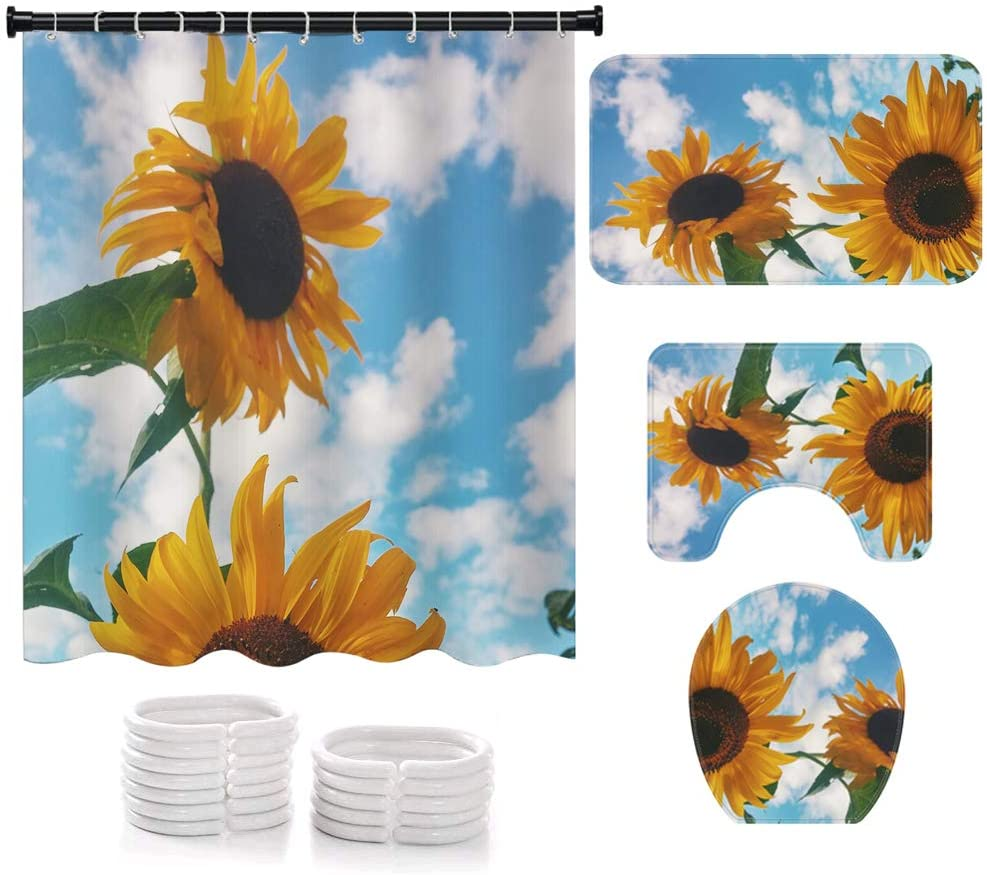 yantu 4 Pieces Set Sunflowers Shower Curtain Flannel Non-Slip Rugs Toilet Lid Cover and Bath Mat Durable Waterproof Bath Curtain with 12 Hooks (S,Sunflowers 1)
