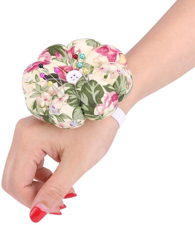 LeKu Pin Cushion with Elastic Wrist Band, Fabric Sewing Needles Pumpkin Cushions for Home Needlework(#13)