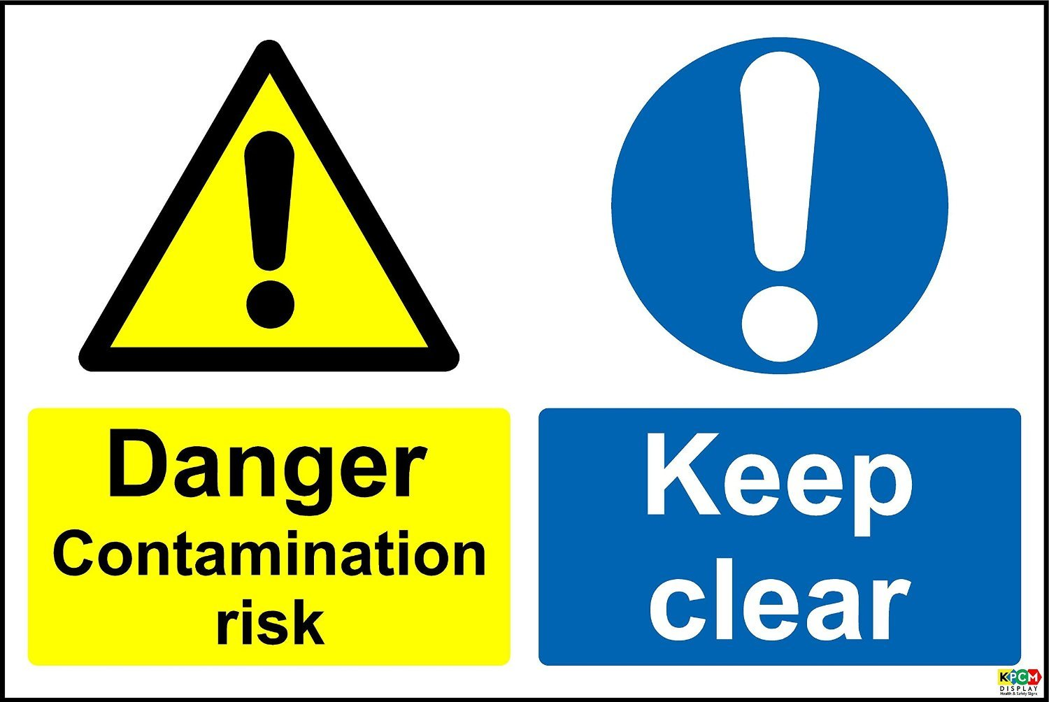 Danger Contamination Risk Keep Clear Safety Sign - Self adhesive sticker 400mm x 300mm