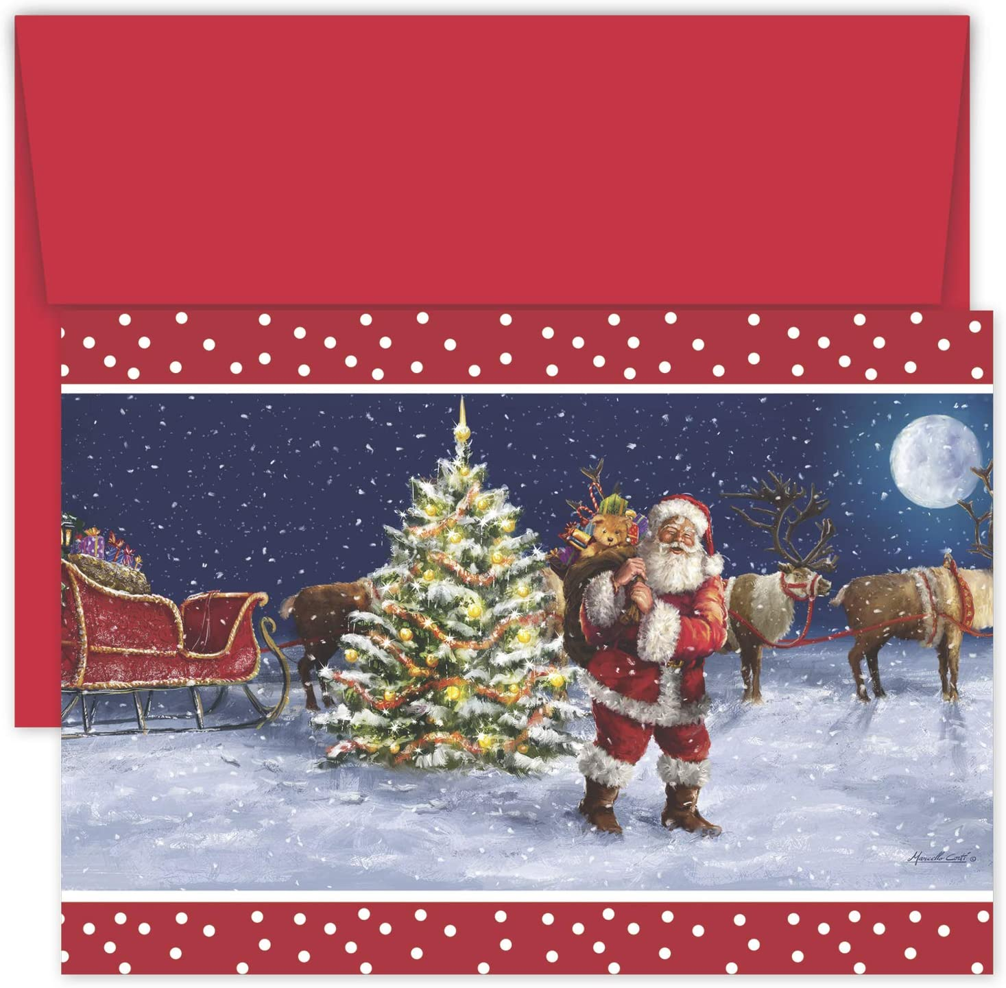 Masterpiece Studios Hollyville 18-Count Boxed Christmas Cards & Envelopes in Keepsake Box, 7.8