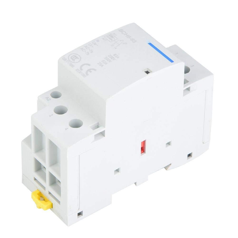 KEYREN Household AC Contactor, 2P 63A 24V 220V/230V 50/60Hz Household AC Contactor DIN Rail Mount 1NO 1NC(24V)