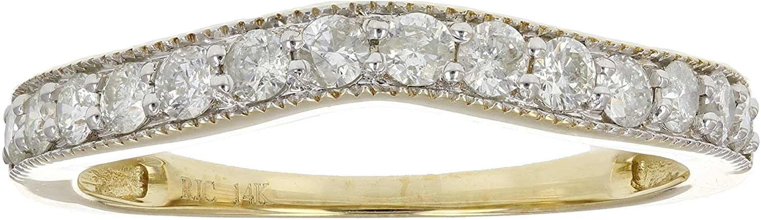 1/2 CT Diamond Contour Wedding Band in 14K Yellow Gold Size 7