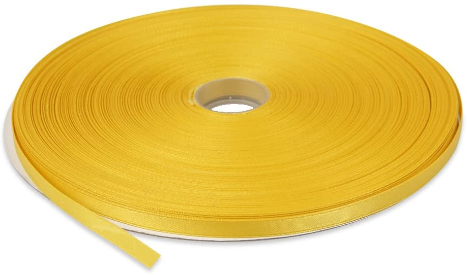 Topenca Supplies 1/4 Inches x 50 Yards Double Face Solid Satin Ribbon Roll, Dark Yellow