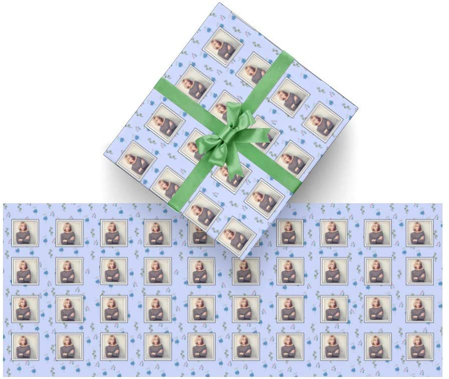 CUXWEOT Personalized Photo Gift Wrapping Paper Autumn Leaf Custom Gift Wrap for Christmas,Birthday,Holiday,Gifts Packing - 3Rolls