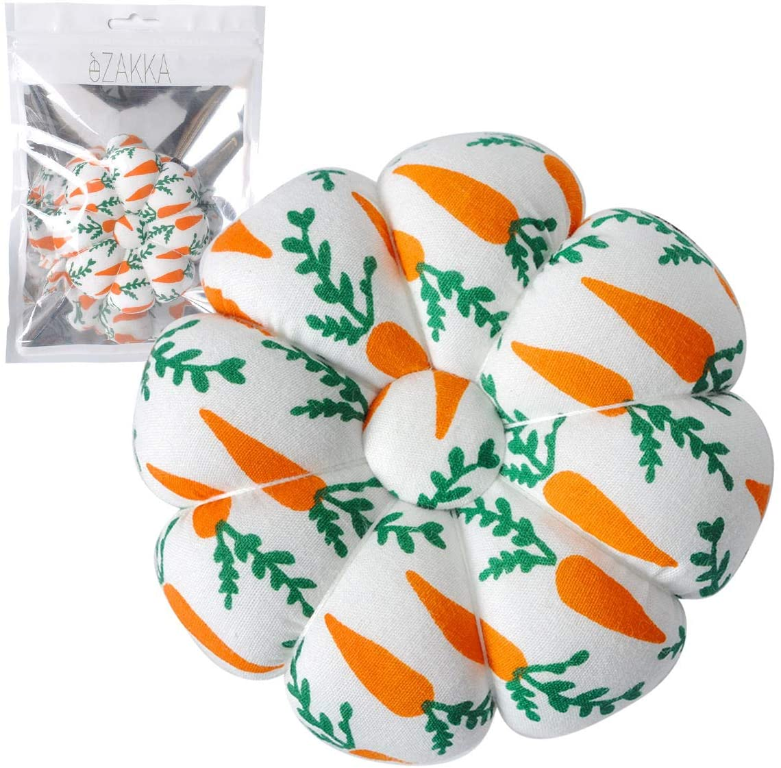 eZAKKA Wrist Pin Cushions Sewing Needle Cushion Holder Band Wearable Pincushions for Sewing (Carrot)