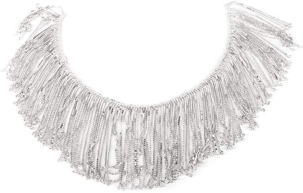 Clothes Appliques Rhinestones Tassel Chain, Sewing Tassel Crystal Chain, Tassel Rhinestones Trim for Sewing