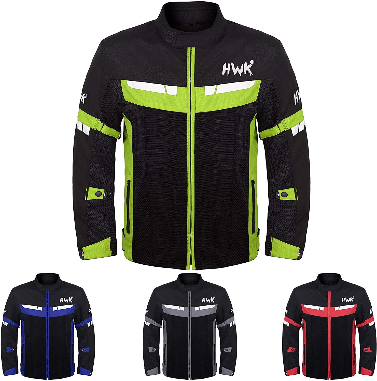 HWK Mesh Motorcycle Jacket Riding Air Motorbike Jacket Biker CE Armored Breathable (Large, Green)
