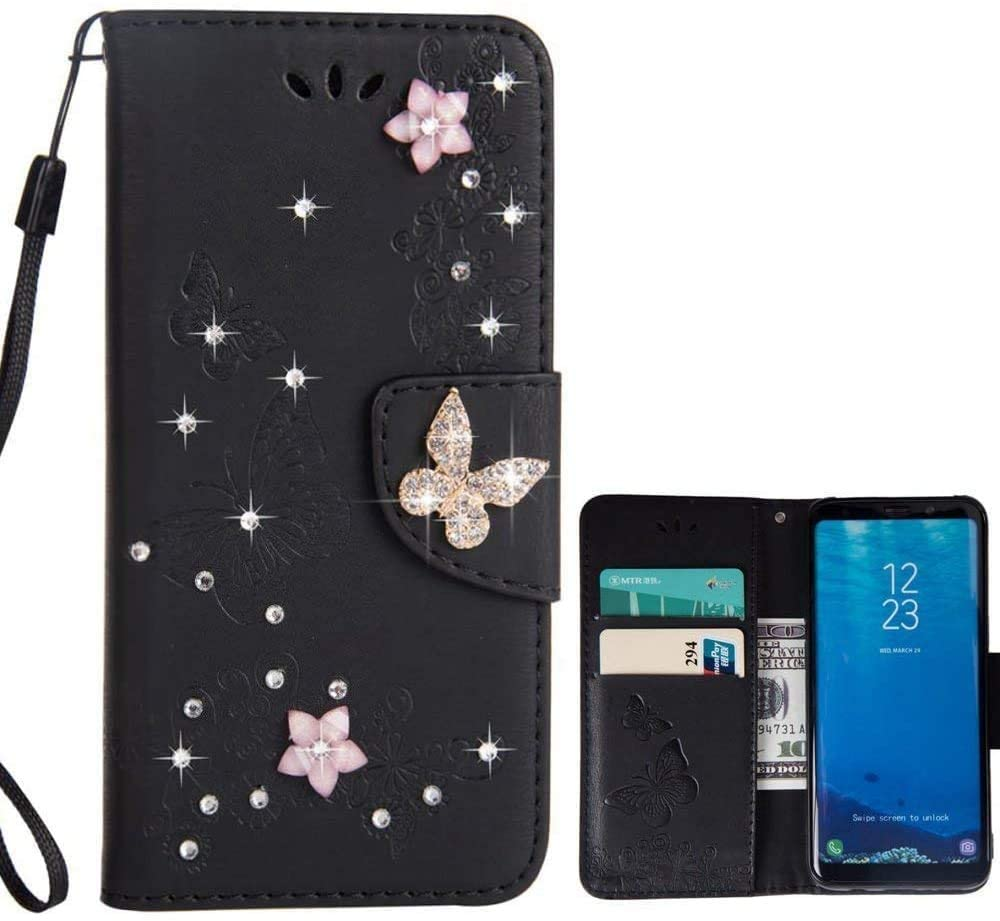 for Samsung Galaxy S9 Case LAPOPNUT Bling Sparkly Diamonds Gems Butterfly Design Premium PU Leather Flip Wallet Case with Card Holder Magnetic Kickstand Cover, Black