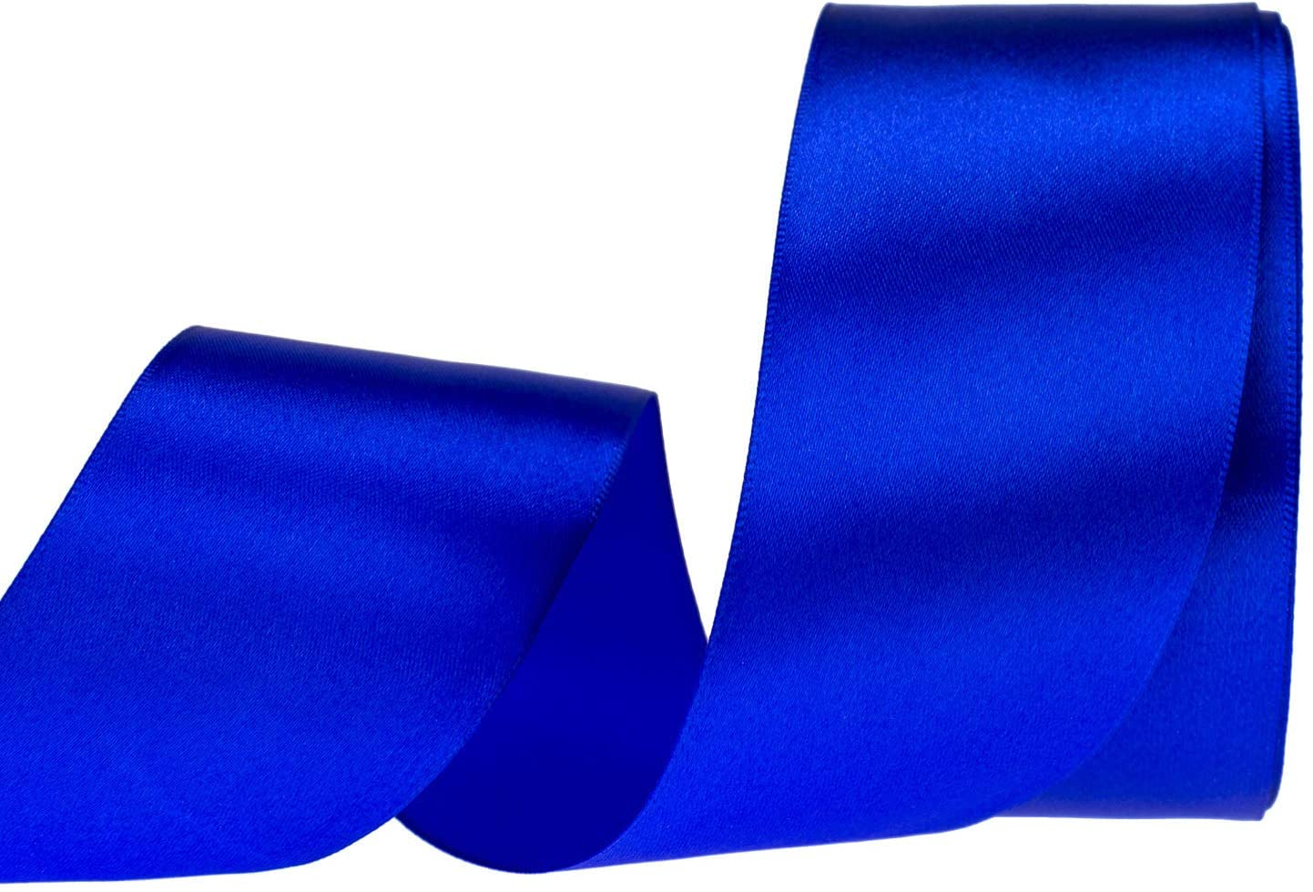 ATRBB 25 Yards 2 inches Satin Ribbon for Wedding,Handmade Bows and Gift Wrapping (Blue)