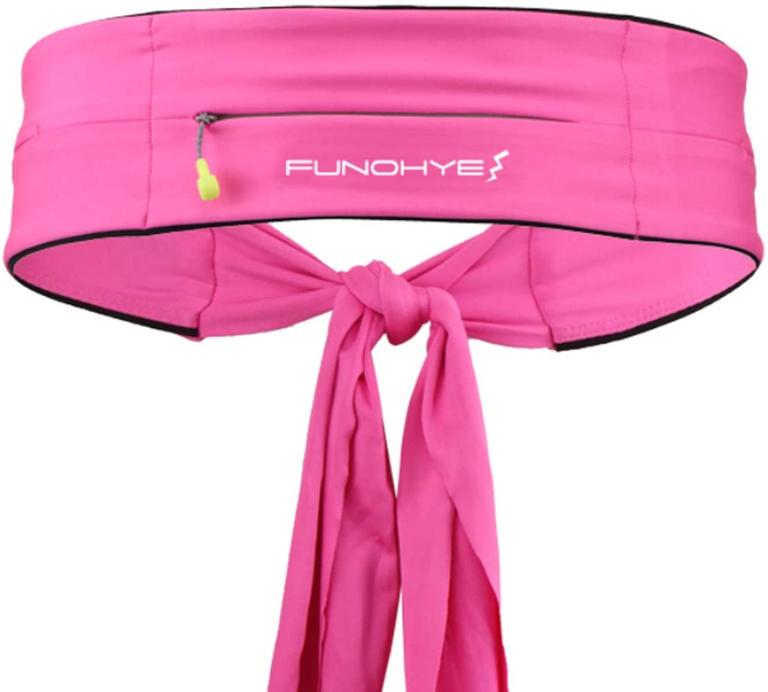 FUNOHYE Running Belt Waist Pack Tie Knot No-Bounce Adjustable Phone Pocket for All Kinds of Phones for Running Workouts Gym Yoga Cycling Rock Climbing Travelling and More