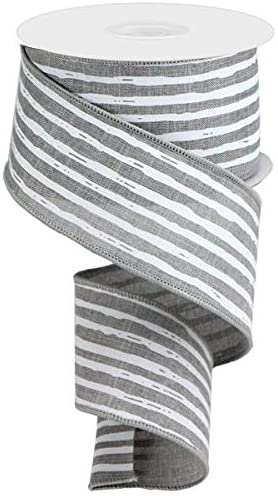Grey & White Vertical Stripe Wired Edge Ribbon - 10 Yards (2.5
