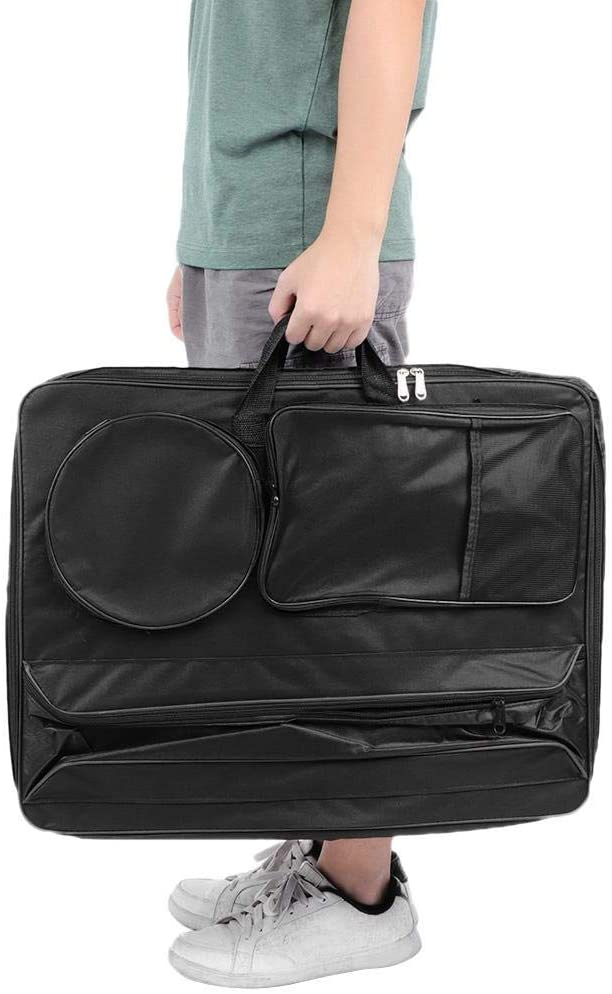 HONG111 Art Portfolio Carry Case Bag Backpack, 26 x 19.3in Multi-Function Large 4K 1200D Fabric Waterproof Art Supplies Bag Travel Sketching Bag, Black