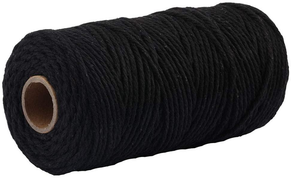 Macrame Cord 3mm 109 Yard 100% Natural Cotton Wall Hanging Plant Hanger DIY Craft Making Knitting Cord Rope Christmas Wedding Decor (Black)