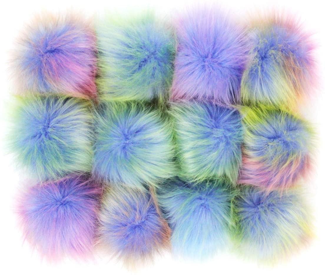 DIY 12pcs Faux Fox Fur Fluffy Pompom Ball for Hats Shoes Scarves Bag Charms Rainbow