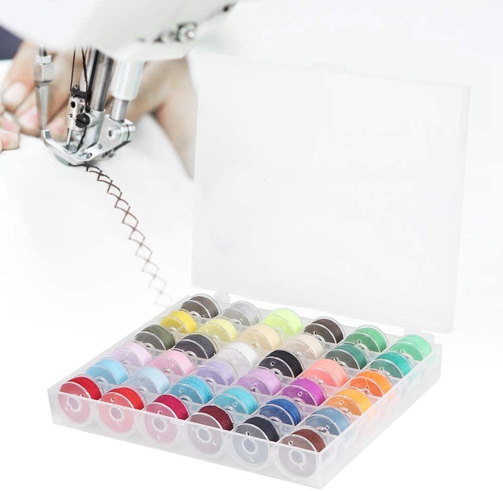 wosume Sewing Bobbin Kit, Transparent Bobbin Storage Box 36 Grid with Colorful Bobbin Thread Sewing Machine Supplies