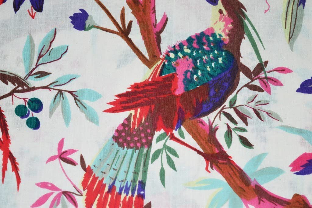 V Vedant Design Indian Handmade 100% Cotton Fabric Bird and Floral Screen Print Dress Fabric Yard Dressmaking Fabric Art & Craft Fabric Sold by Yard 5