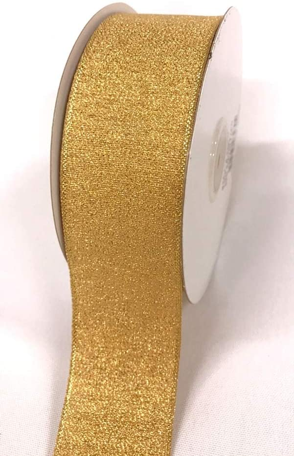 BJM Collection Nylon Metallic Ribbons Art & Sewing Craft, Party, Wedding, Gift Wrapping (Gold, 1-1/2