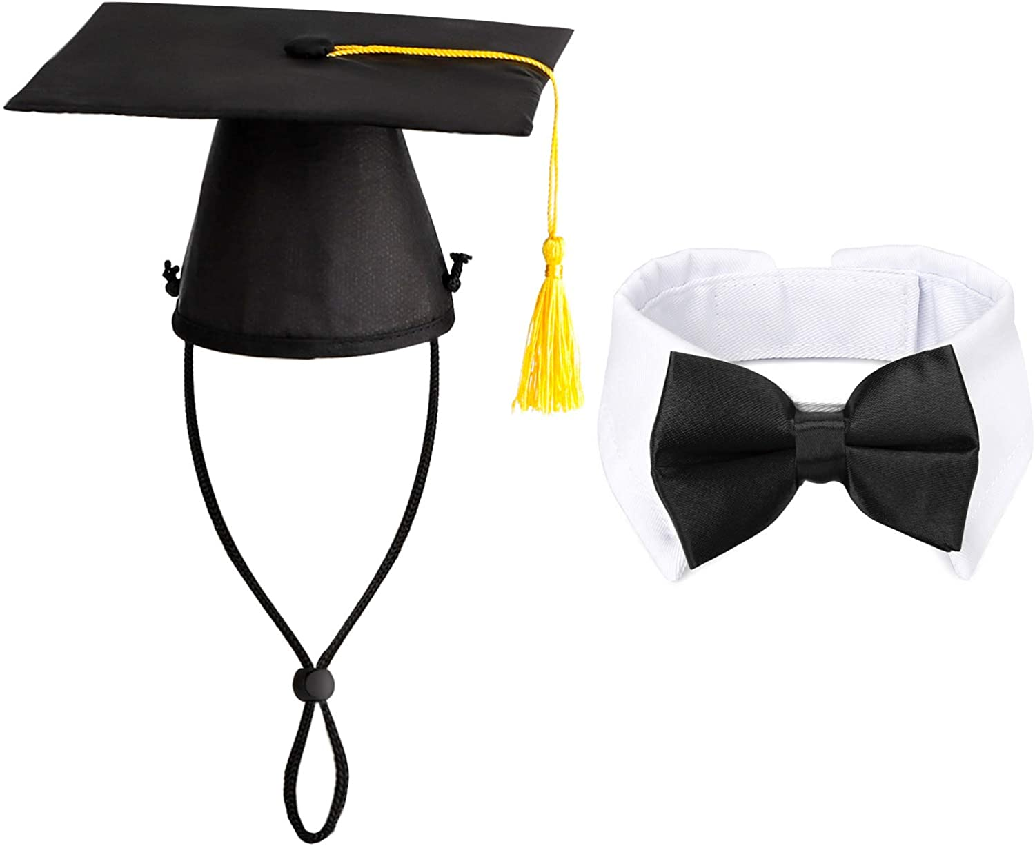 Segarty Pet Graduation Cap, with Dog Bow Tie, Dog Graduation Hat with Dog Ties for Small Dogs, Tuxedo Neck Bow with Suit White Collar for Boy Dog Gown Outfits Dress Costumes Accessories Gift
