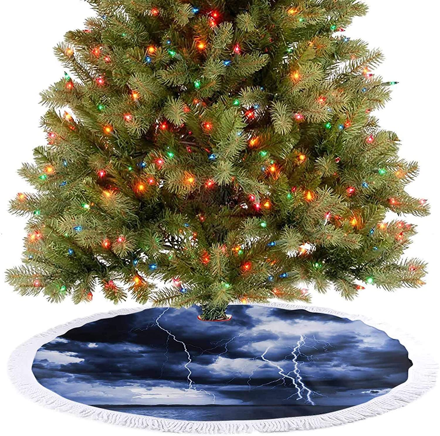 Christmas Tree Skirt Decorations Majestic Sky View with Huge Rain Clouds All Over The Sea and Xmas Decoration Holiday Ornaments Covers A Large Amount of Space Under The Tree - 48 Inch