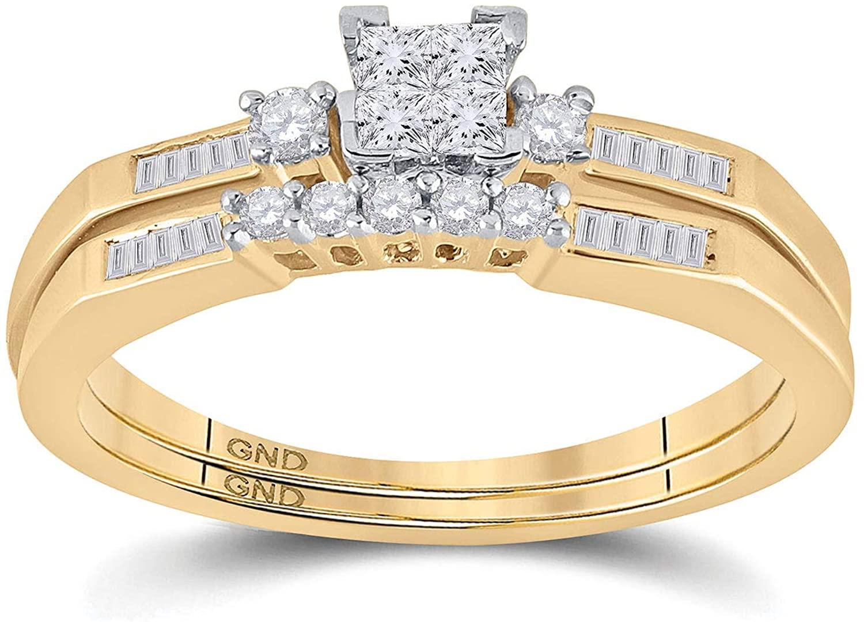 10k Yellow Gold Womens Princess Diamond Slender Wedding Bridal Engagement Ring Band Set 1/3 Cttw for Women