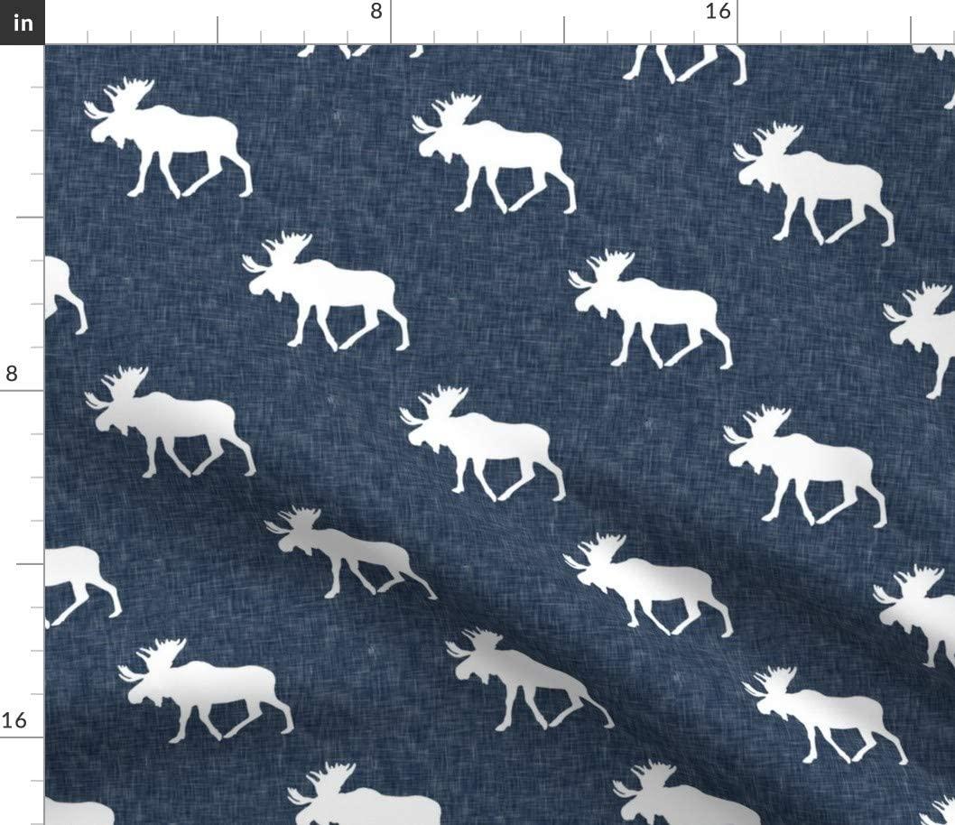 Spoonflower Fabric - Moose Navy Dark Blue Elk Woodland Trendy Baby Printed on Chiffon Fabric by The Yard - Sewing Fashion Apparel Dresses Home Decor