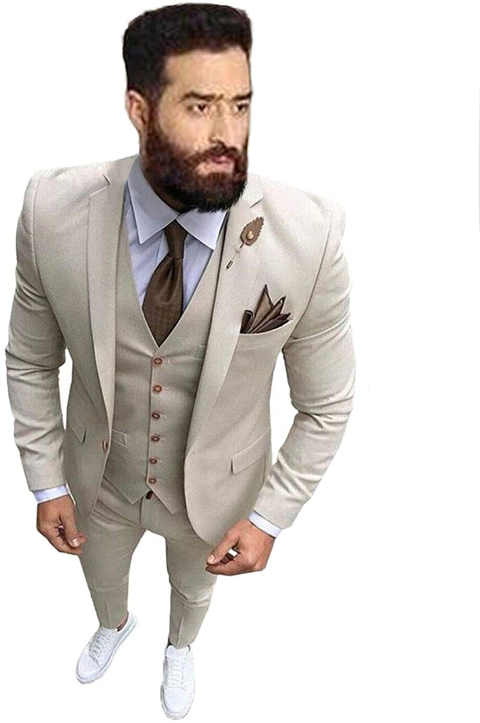 Men's Slim Fit 3 Piece Suit Dinner Tuxedo Wedding Blazer Jackets Vest&Trousers