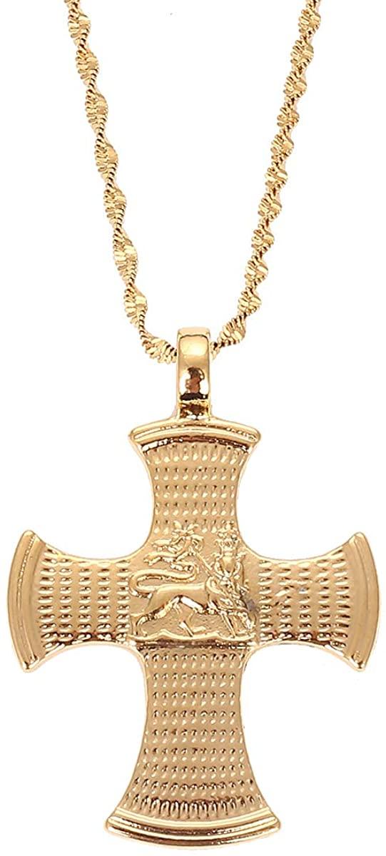 Ethiopian Lion Cross Pendant Necklace for Women Men Gold Color Trendy Chain Jewelry