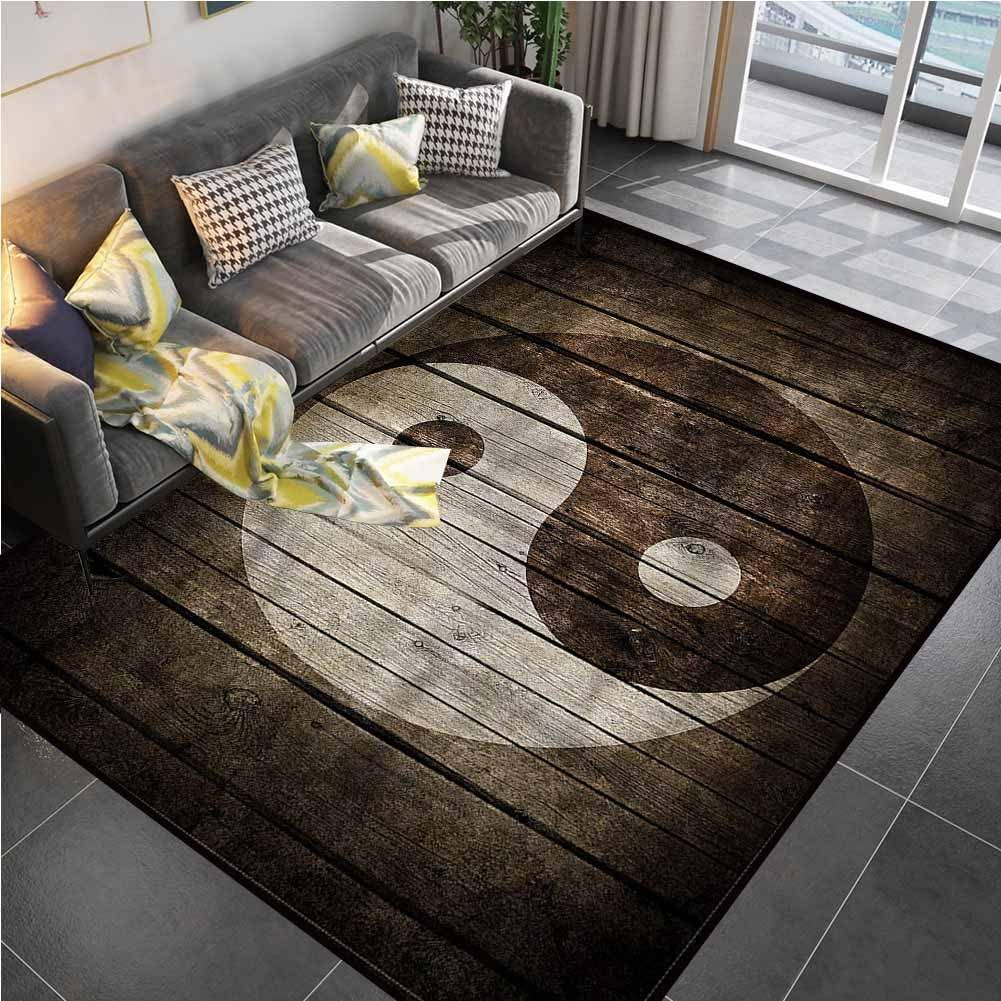 Area Rug Rugs Print Large Floor Mat Ying Yang,Rustic Wood Zen Balance Rugs for Kids Yoga Living Room Home Decor Rugs 5'7