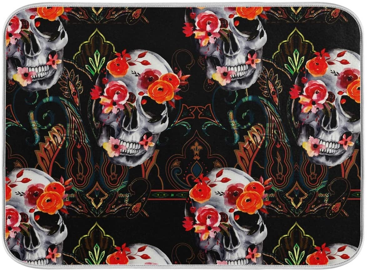 Absorbent Dish Drying Mat Microfiber - Rose Skull Plate Drying Mat for Kitchen Counter 16 x 18 Inch