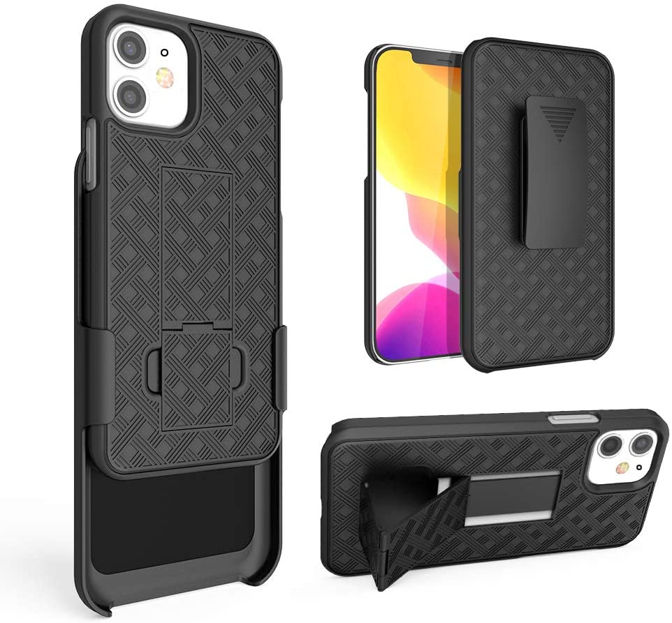 Chuangxinfull iPhone 12 Mini Holster case, Combo Shell&Super Slim Case w/Built-in Kickstand and Swivel Belt Clip for Apple iPhone 12 Mini 5.4 inch [Shockproof] (iPhone 12 5.4 inch)