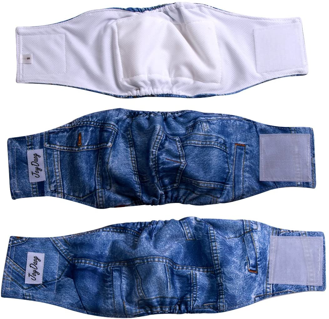 JoyDaog Jean Belly Bands for Small Dog Diapers Male Reusable Puppy Wrap Pack of 3