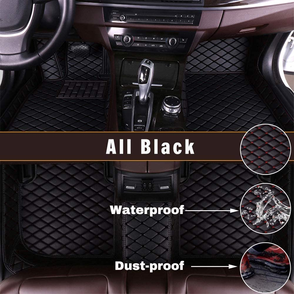 Maidao Custom Car Floor Mats for BMW X5 5-Seats 14-18 Can Be Customized for 99% of Car Models Can Be Customized Pattern Or Logo Waterproof Non-Slip Leather Liner Set Black