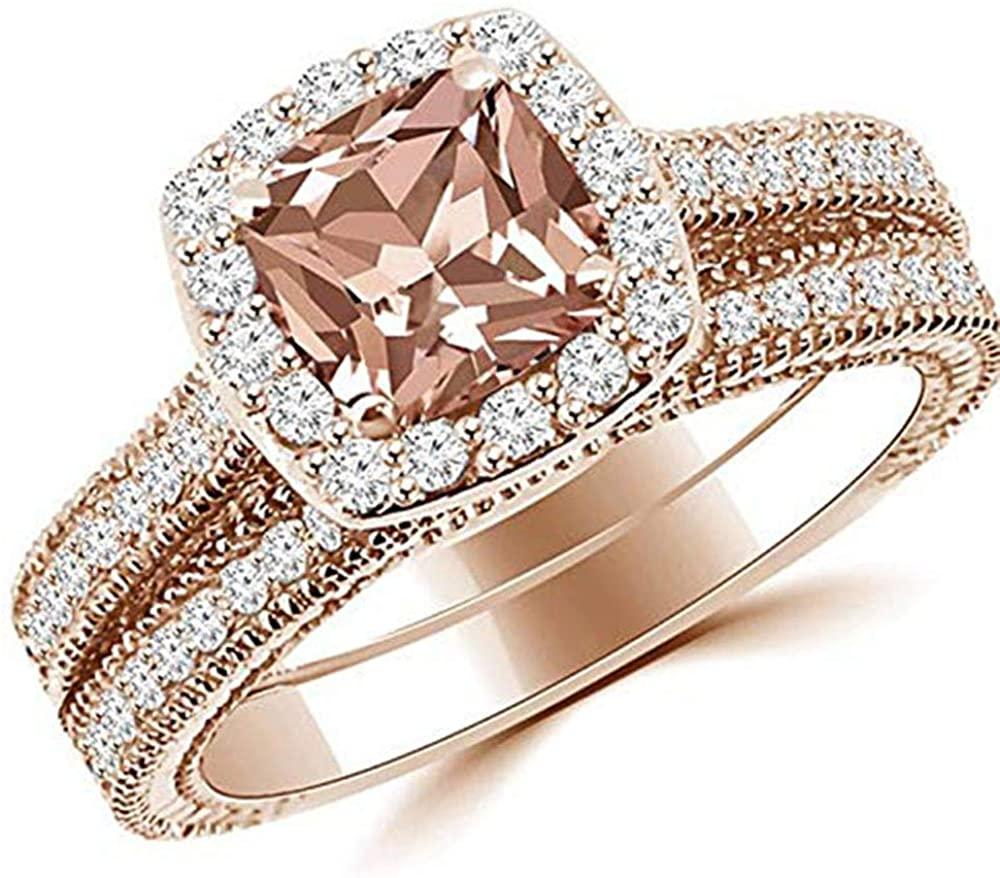 Dividiamonds Halo Engagement Wedding Ring Cushion Cut Morganite 18K Rose Gold Finish