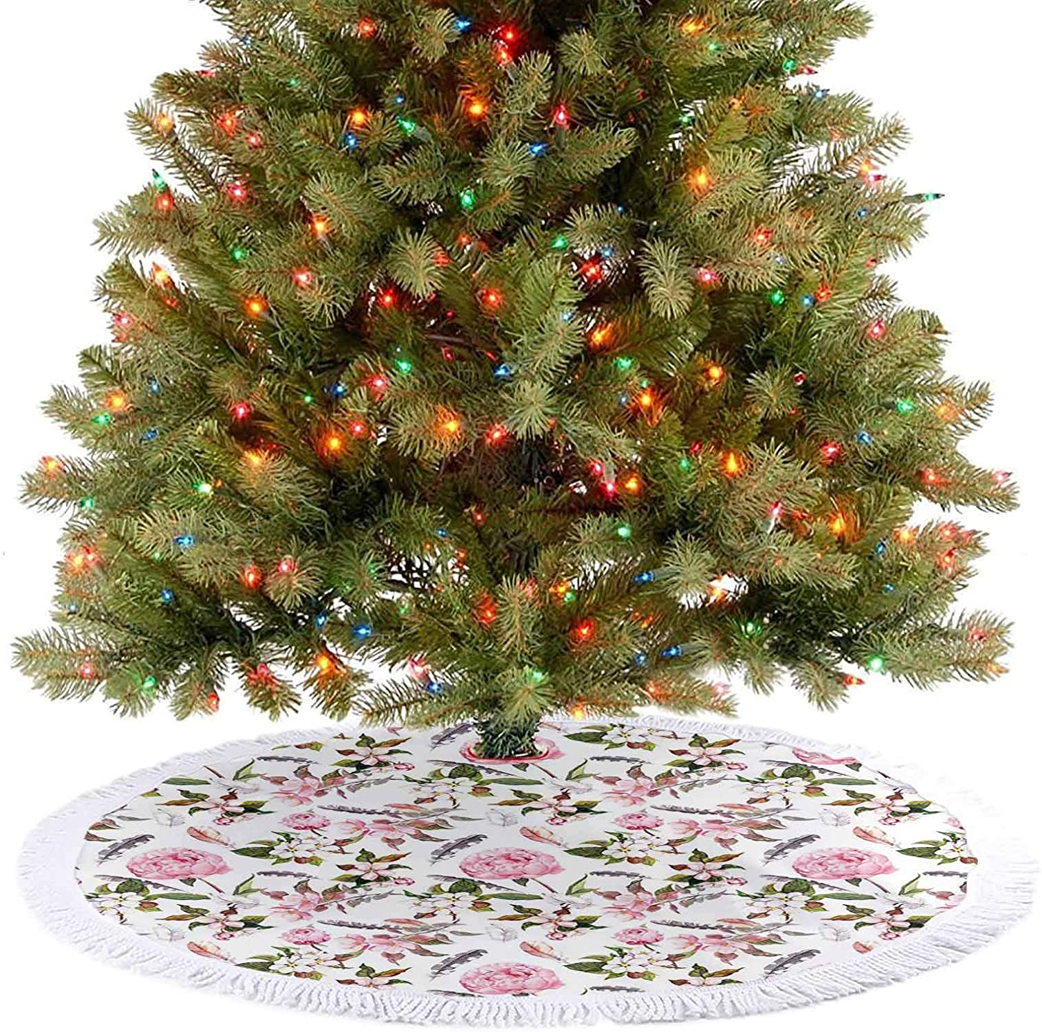 Adorise Luxury Christmas Tree Skirt Rose and Cherry Flowers Blossoms Feathers Shabby Classical Botanic Retro Image Traditional Christmas Tree Mat A Contemporary Look and Appeal - 48 Inch