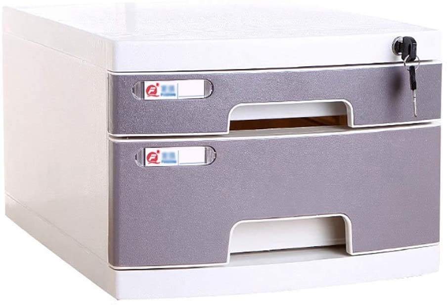 MTYLX Multifunction Office Storage File Cabinet-File Cabinets Desktop Storage Box Furniture Archive Cabinet 2/3 Drawers, with Lock High Capacity Can Store A4 Files,Grey,2-Layers