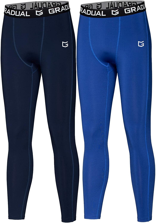 G Gradual Boys' Compression Pants Youth Thermal Base Layer Fleece Tights Sports Basketball Leggings for Boys
