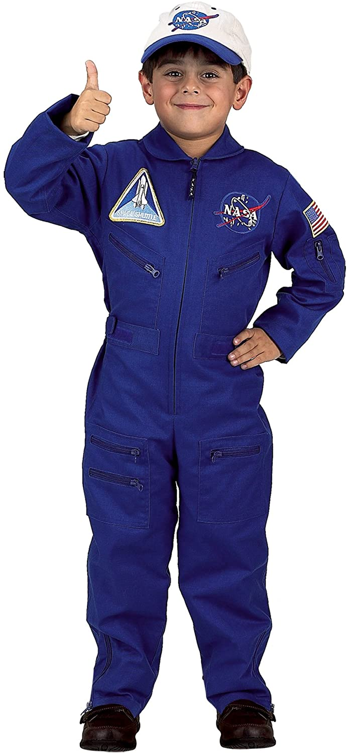 Aeromax Jr. NASA Flight Suit, Blue, with Embroidered Cap and official looking patches, size 6/8.
