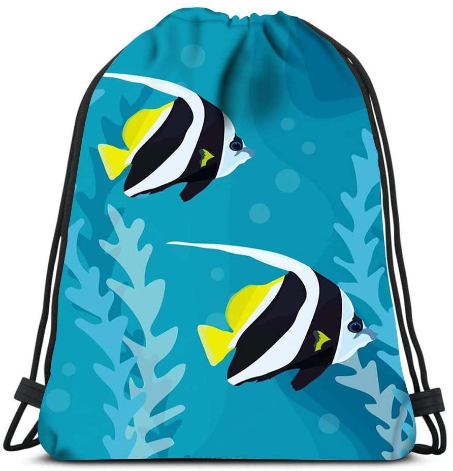 Drawstring Backpack Tropical Reef Fish In Water Sea Life Yoga Runner Daypack Shoe Bags