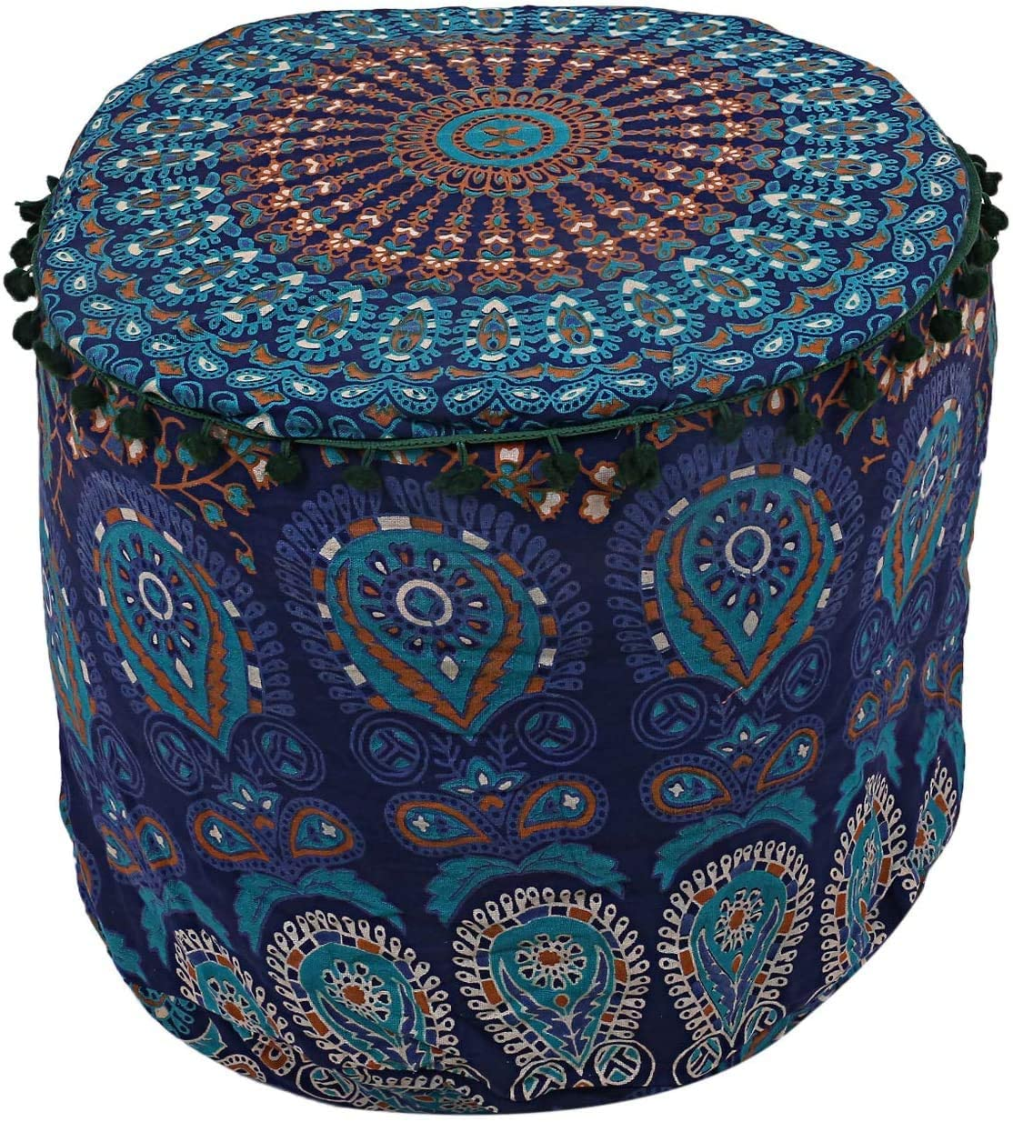 Janki Creation Cotton Round Peacock Mandala Floor Pillow Cover Indian Pouf Cover Throw Large 22'' Footstool Cover (18 x 18 x 13 Inch)