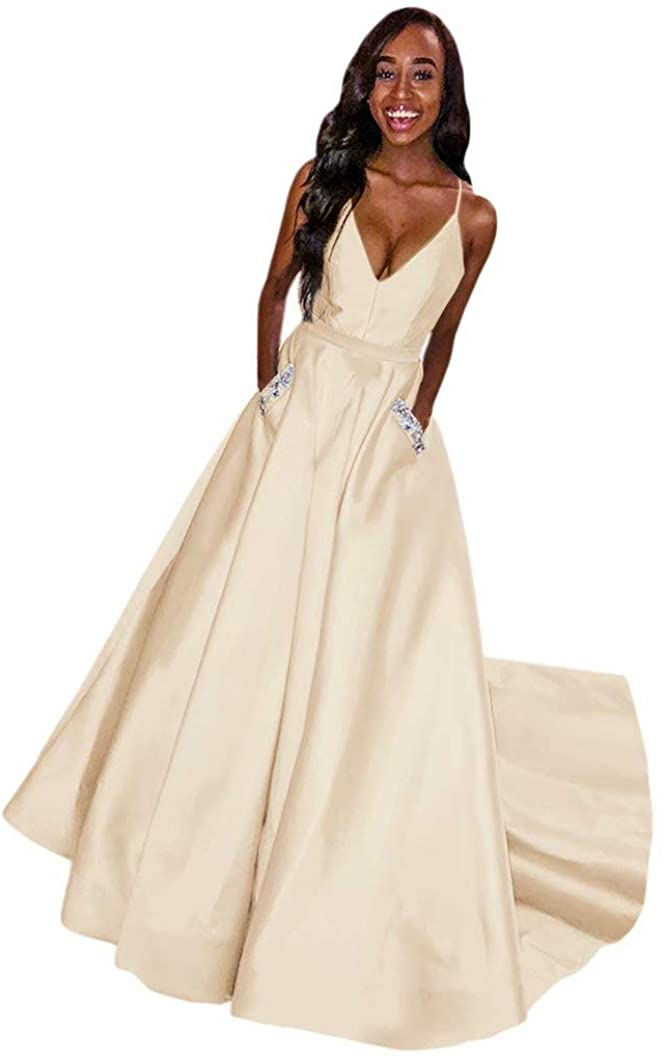 TBGirl Spaghetti Strap Women V-Neck Prom Dresses Spaghetti Straps Satin Long Formal Evening Gown with Pockets