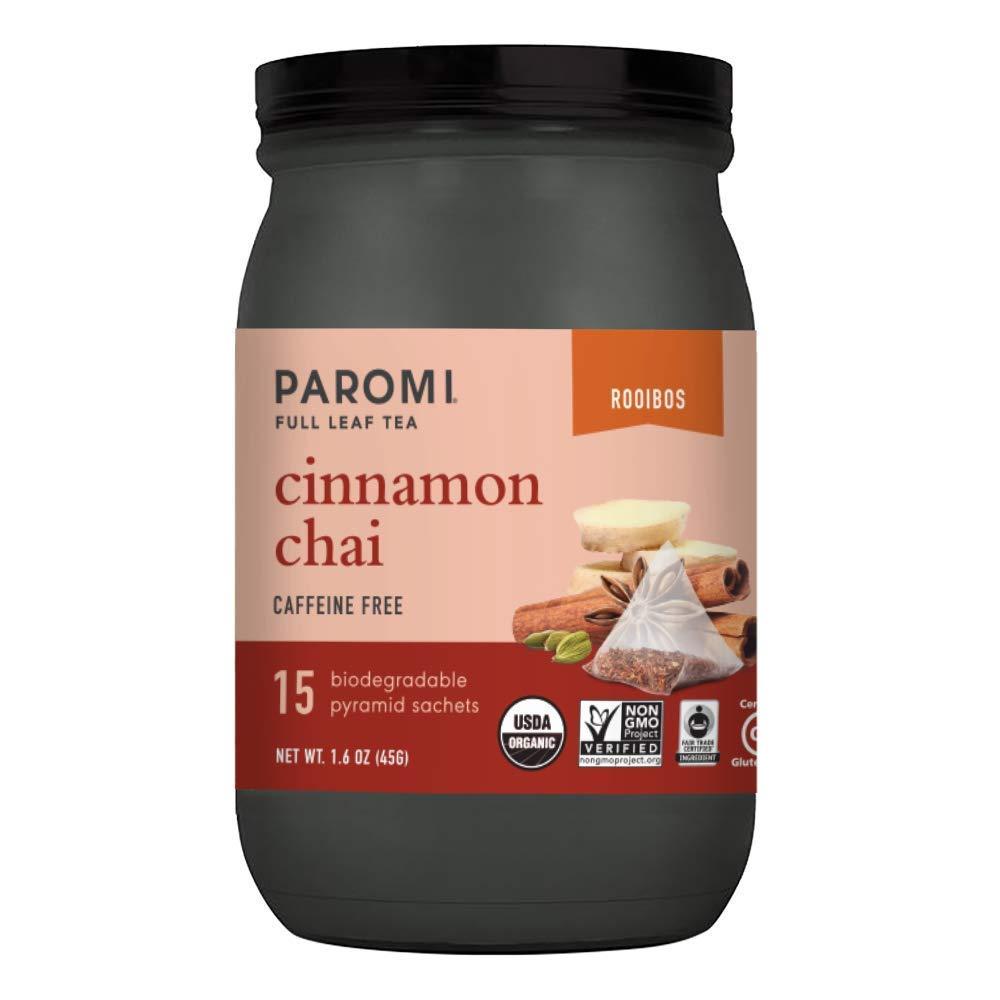 Paromi Tea Cinnamon Chai Tea Full-Leaf, 15 Tea Bags, Caffeine Free Organic Rooibos Tea with Cinnamon Ginger Cloves, Pack of 3