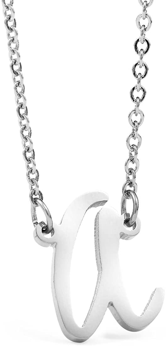 AIJIAO Stainless Steel Letter A Pendant Necklace Chain Womens Girls Jewelry Gift