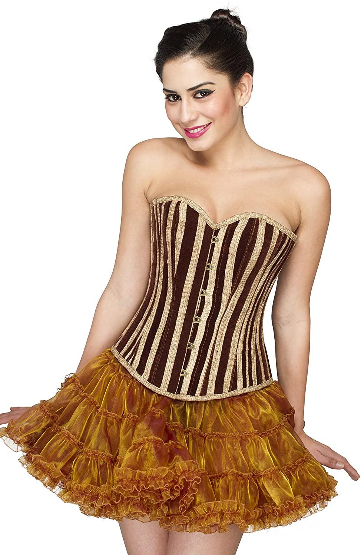 CorsetsNmore Brown Stripes Jute Gothic Burlesque Overbust Bustier Tissue Skirt Corset Dress